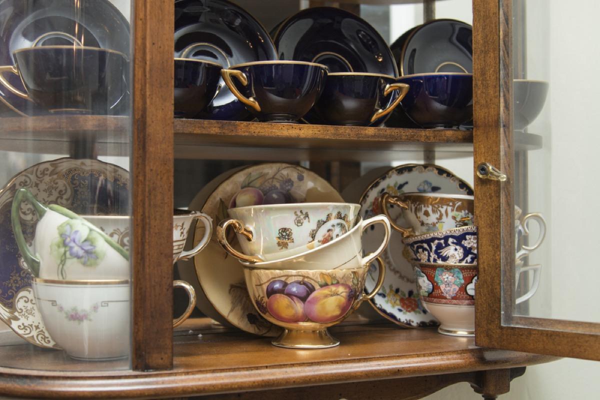vintage curiosity cabinet, vintage home upgrades