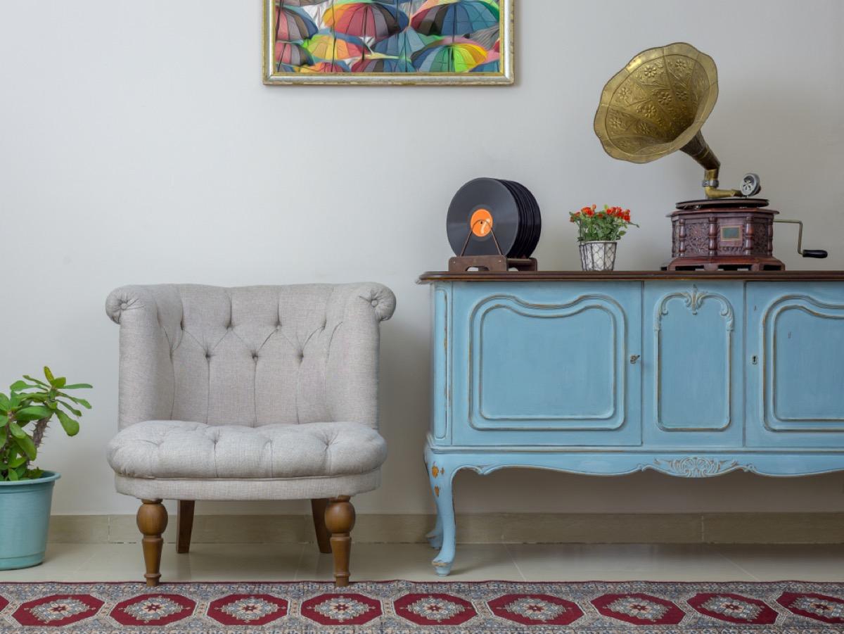 vintage sideboard, vintage home upgrades