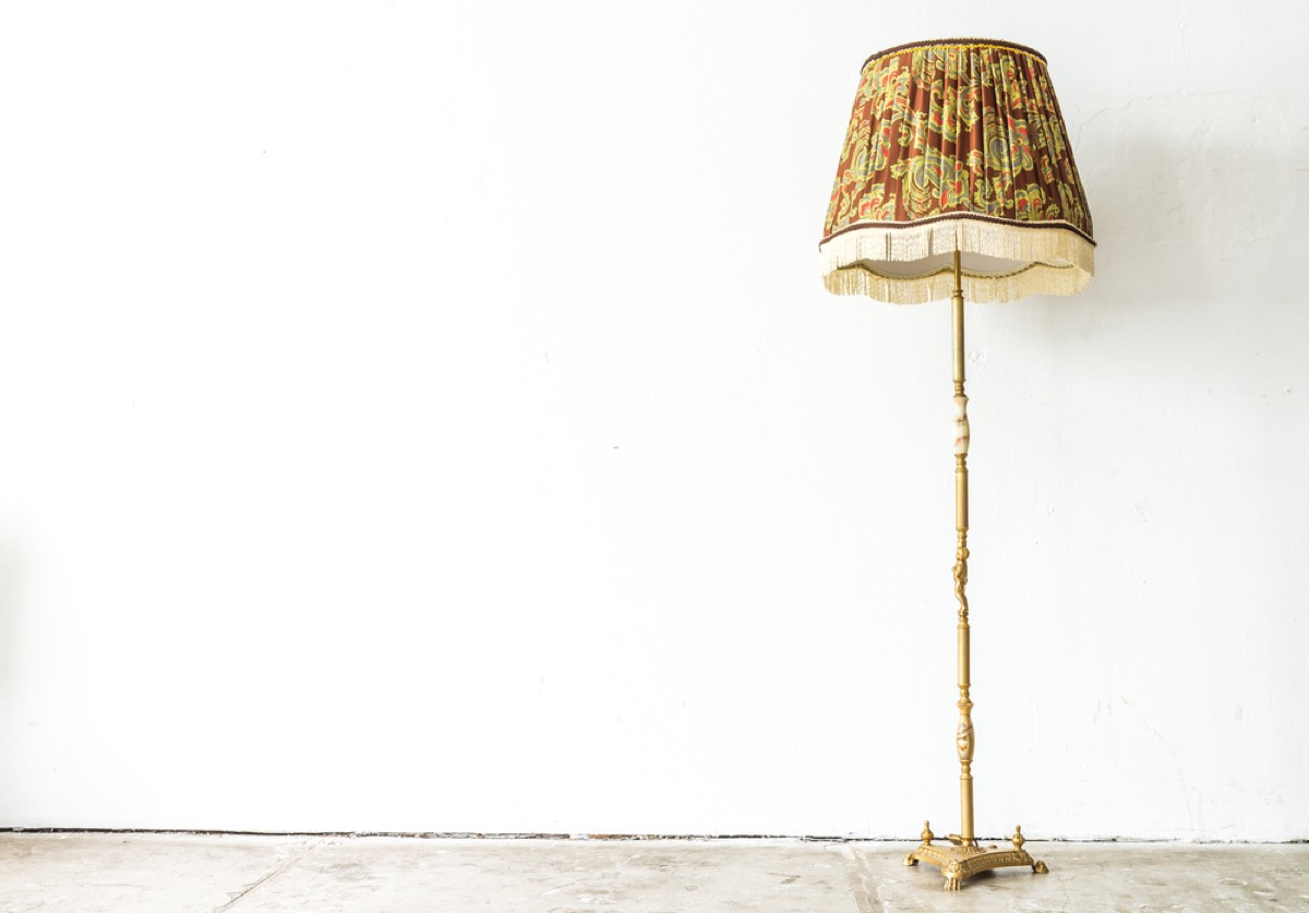 vintage floor lamp, vintage home upgrades