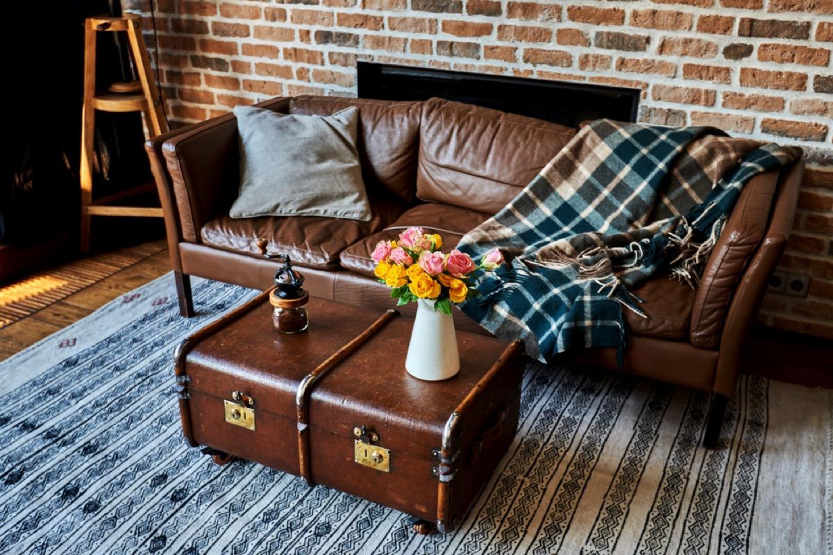 antique trunk table, vintage home upgrades