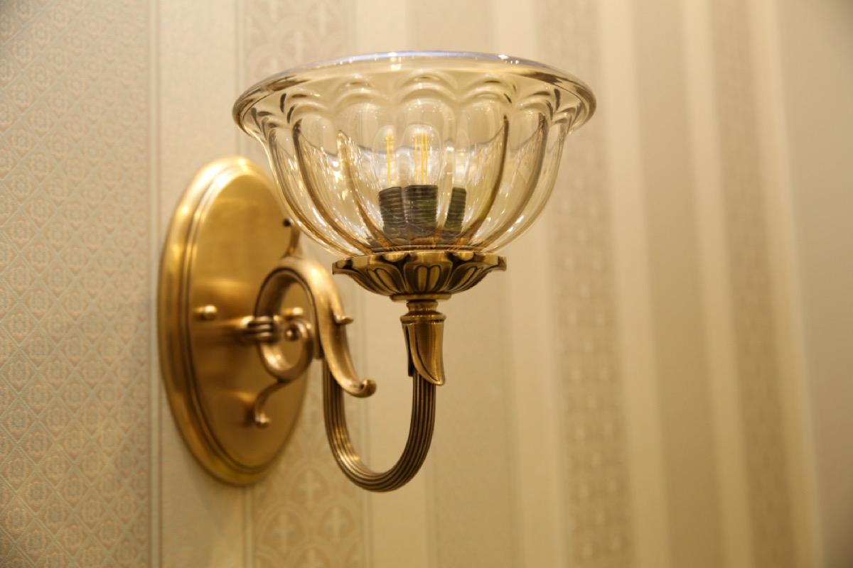 vintage glass wall sconce, vintage home upgrades