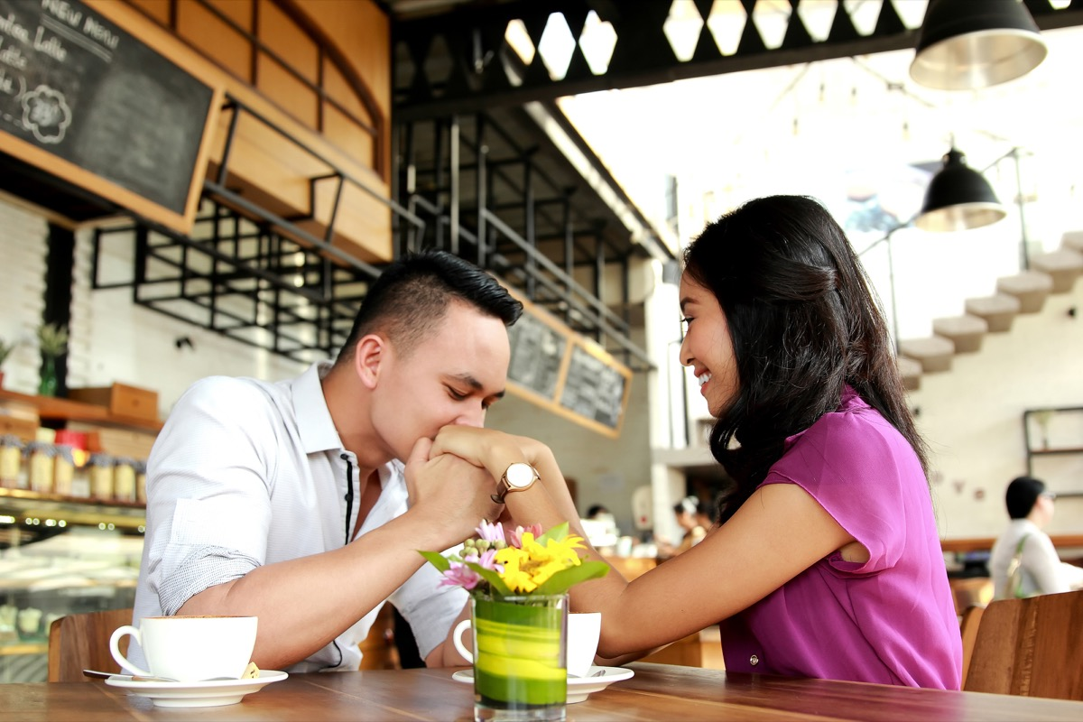 Asian Man Kissing His Girlfriend or Date's Hands Thirsty Slang Terms
