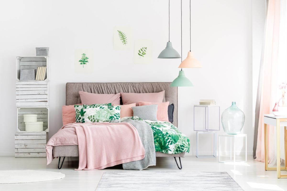 pastel bedroom with minimalist design, joanna gaines tips