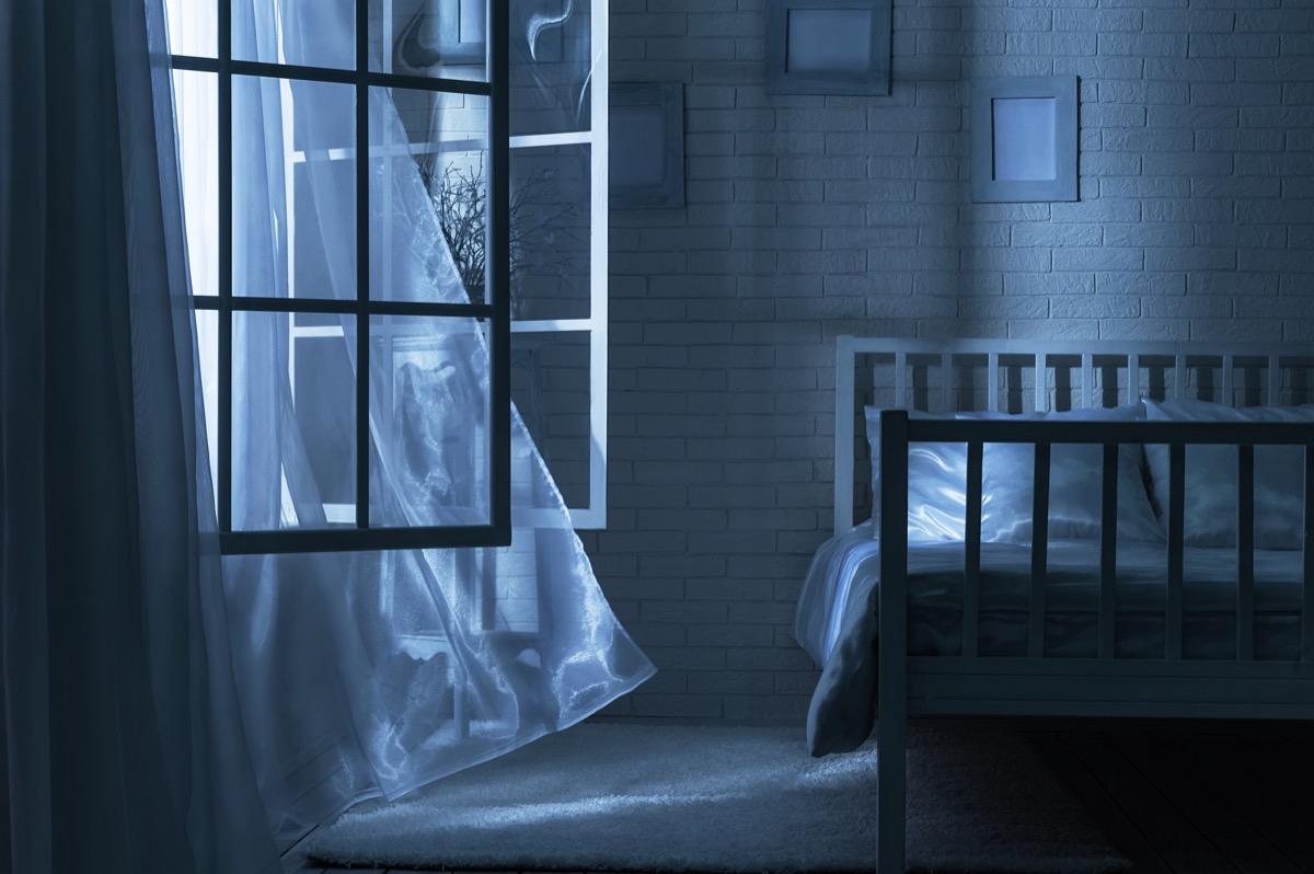 bedroom window open at night