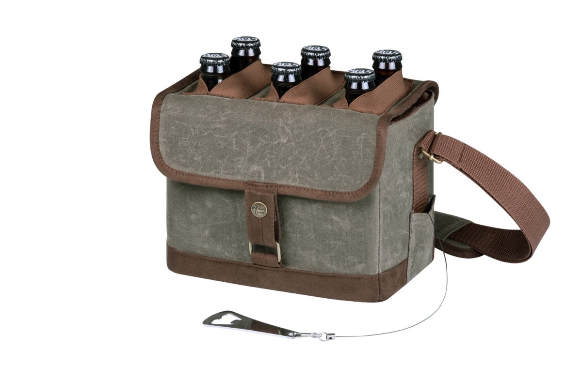 gray fabric and leather beer caddy, summer buys under $100
