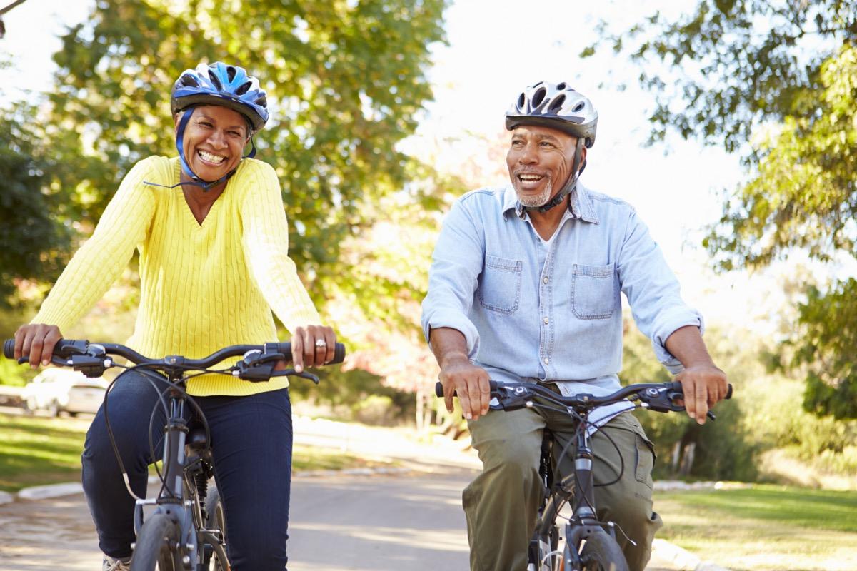 Older couple on bike ride
