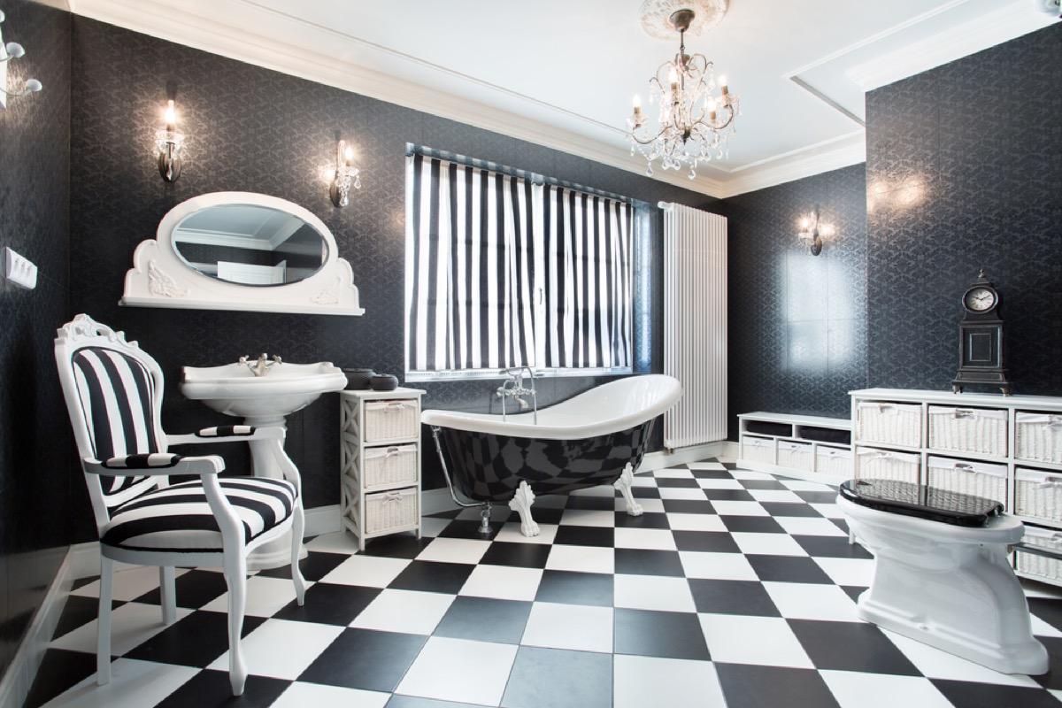 black and white checkerboard bathroom, vintage home upgrades