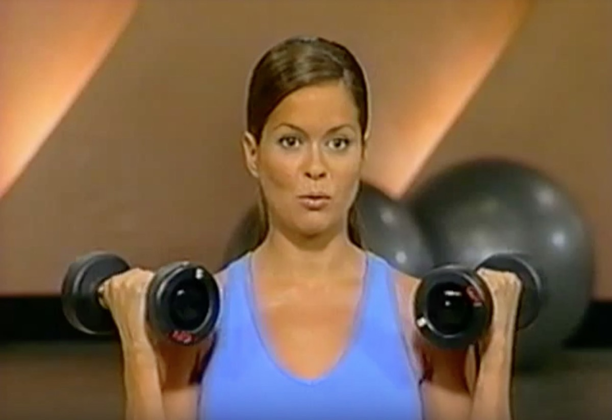 brooke burke working out with dumbbells, celebrity infomercial
