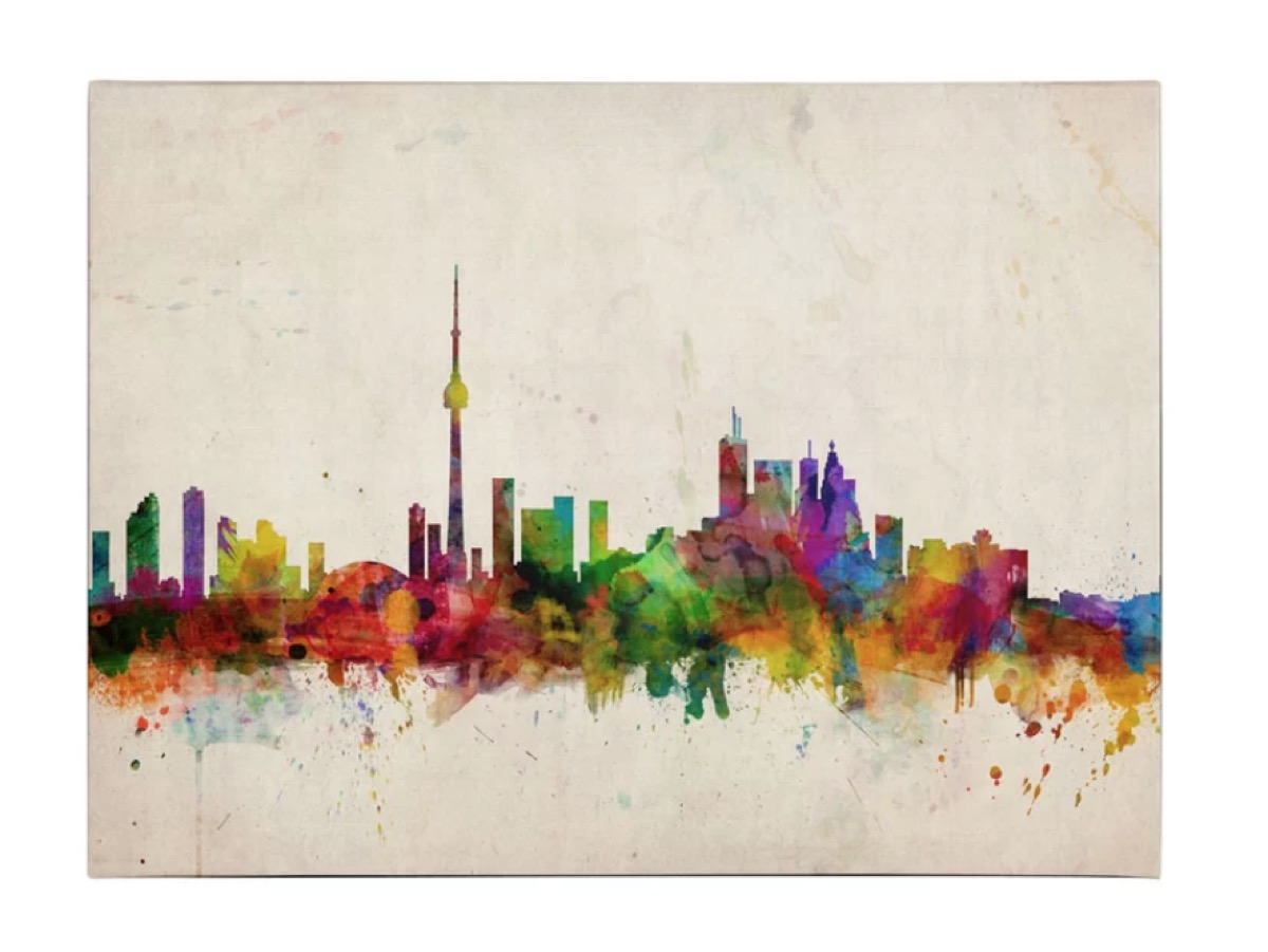 rainbow colored toronto skyline canvas print