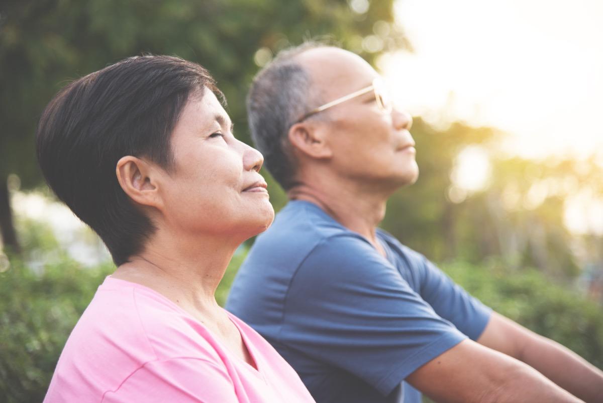 couple meditating, mediation, over 50 fitness