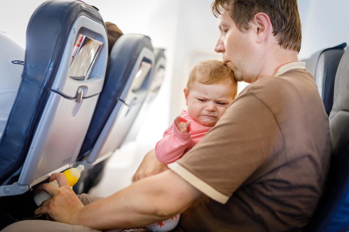crying baby on airplane