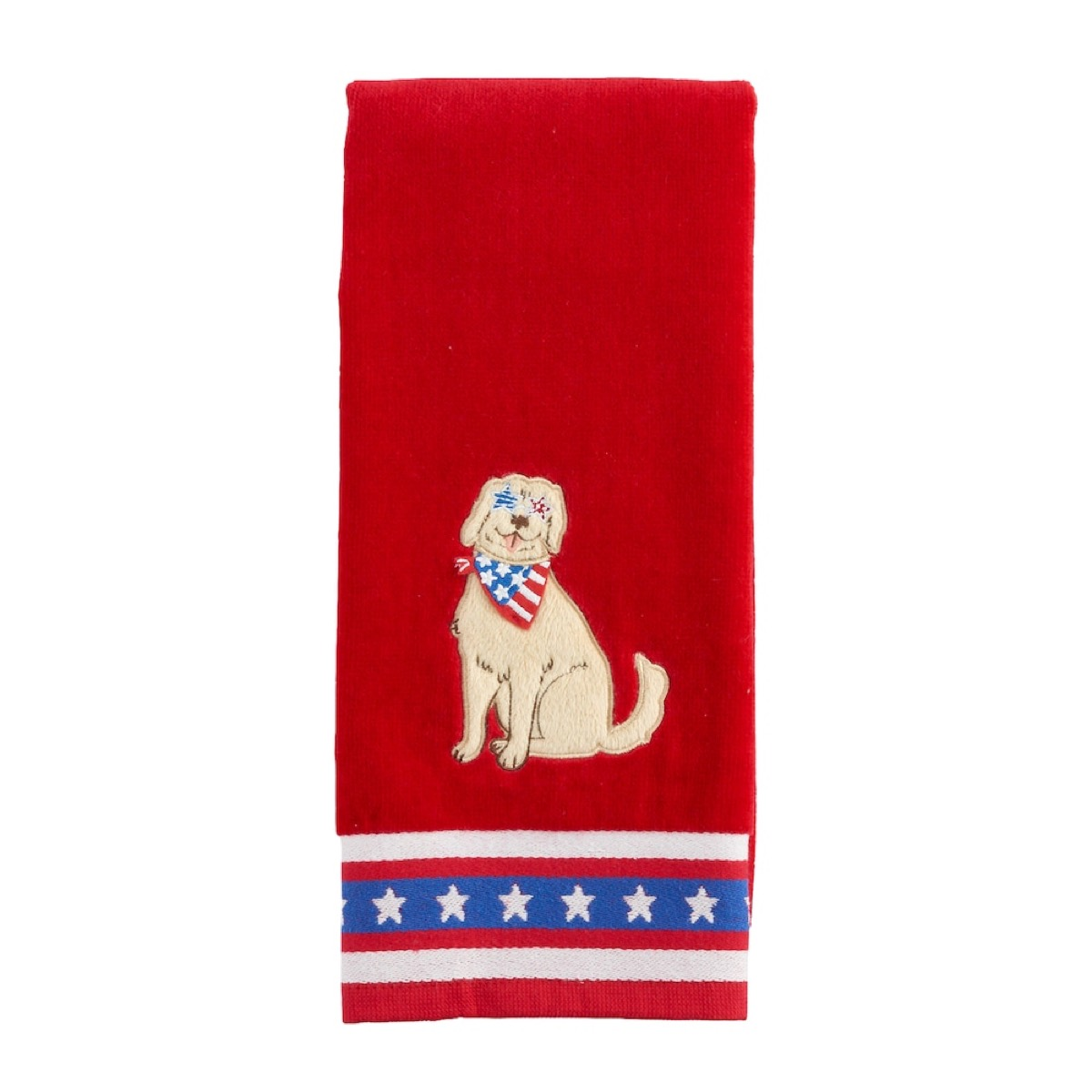 Red white and Blue Dog Hand Towel Fourth of July Accessories