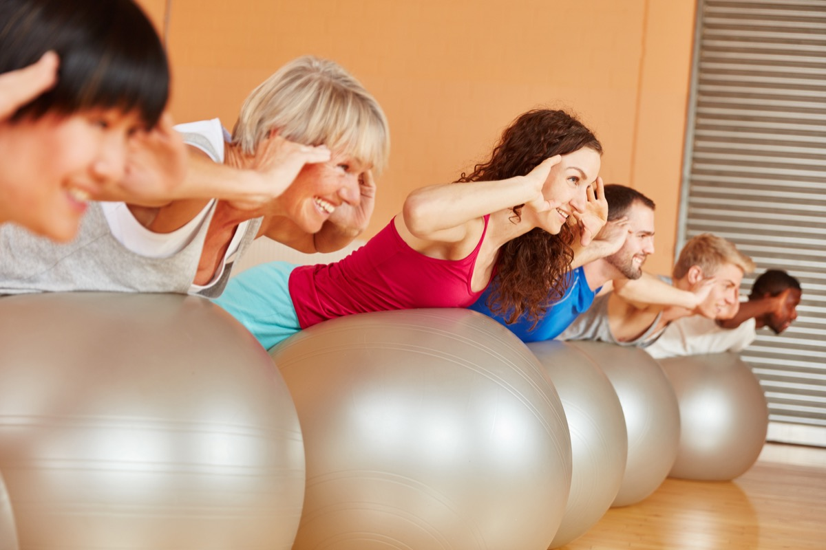 exercising class, over 40 fitness