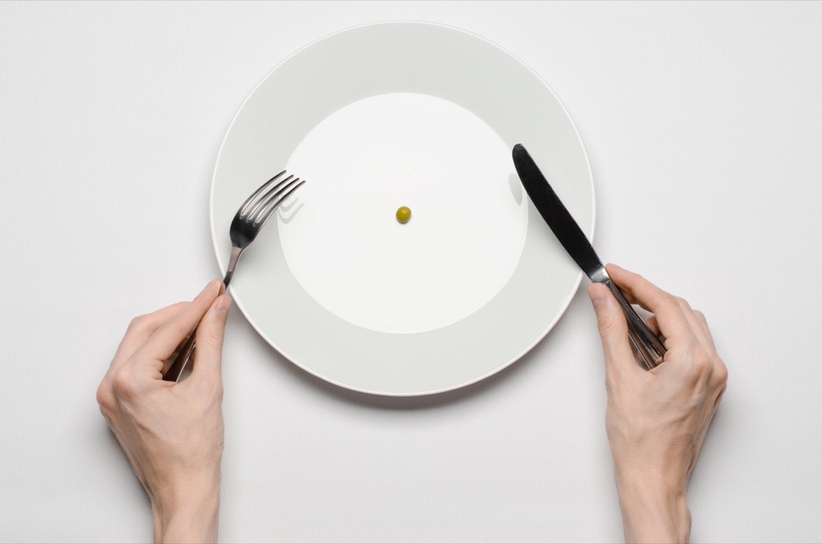 fad dieting with an empty plate, pea on empty plate, aging quicker