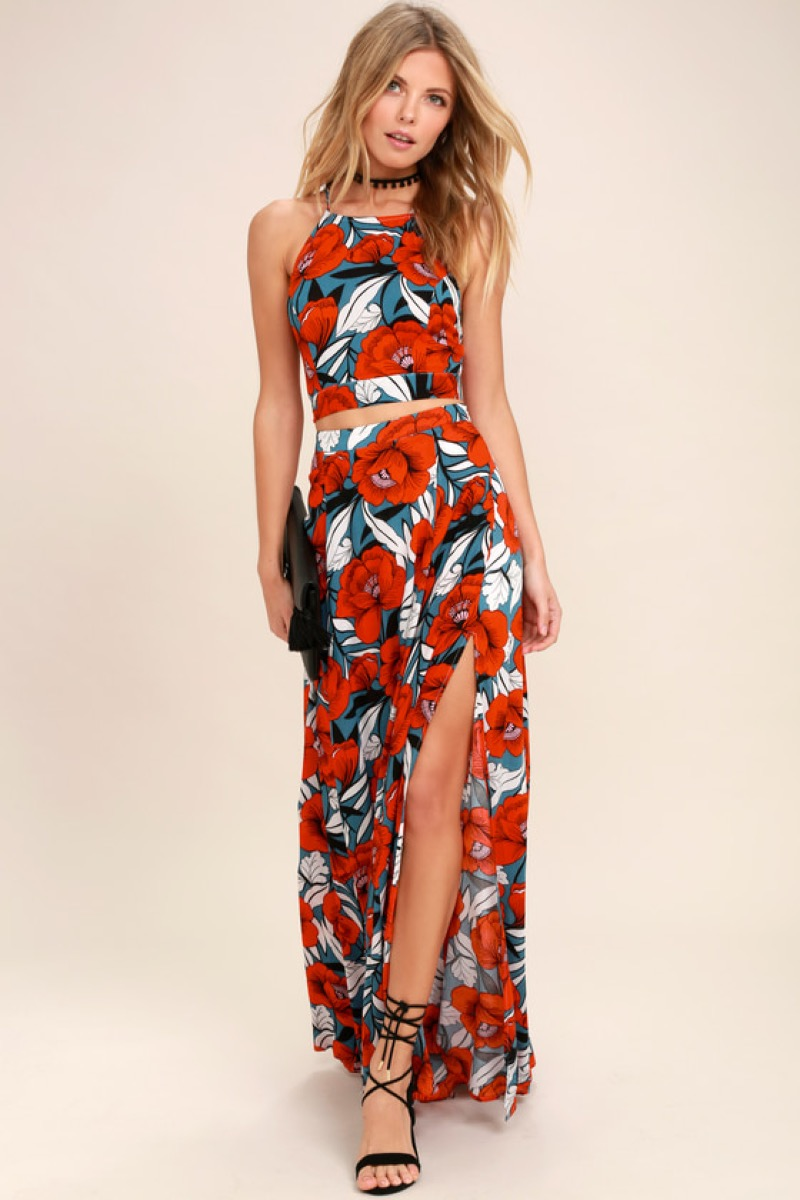 Floral Two-Piece Set Fourth of July Accessories