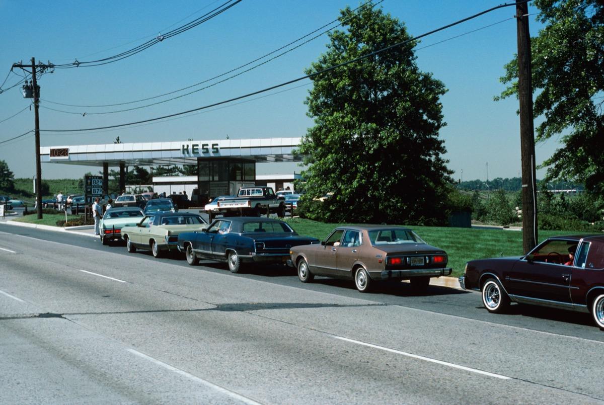 gas station lines, 1970s nostalgia