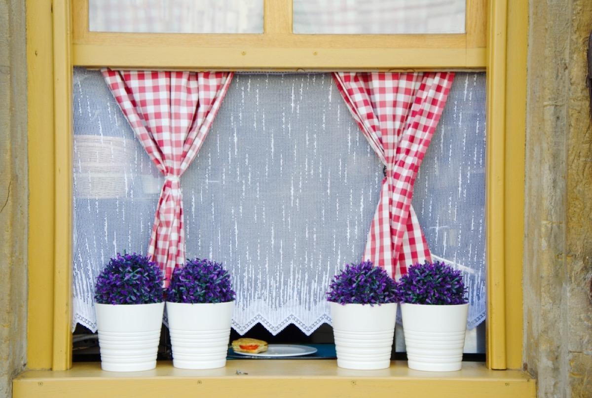 cafe curtains in kitchen window, vintage home upgrades