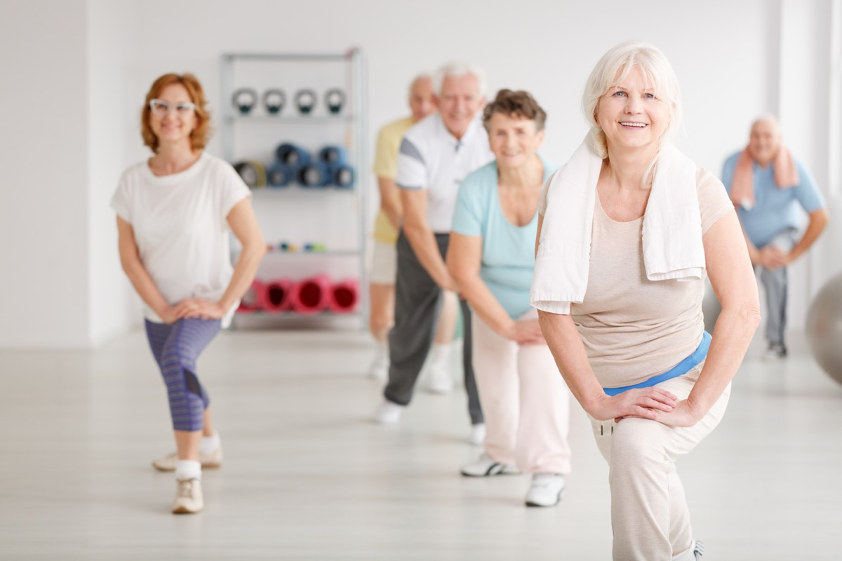 Older group fitness class