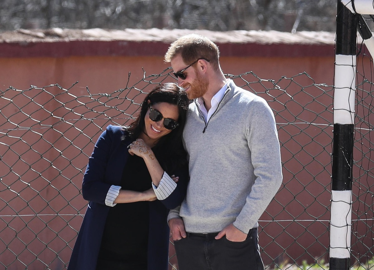 The Duke and Duchess of Sussex visit a local secondary school in Asni. Featuring: Prince Harry, Harry Duke of Sussex, Meghan Duchess of Sussex, Meghan Markle Where: Asni, Morocco When: 24 Feb 2019 Credit: John Rainford/WENN