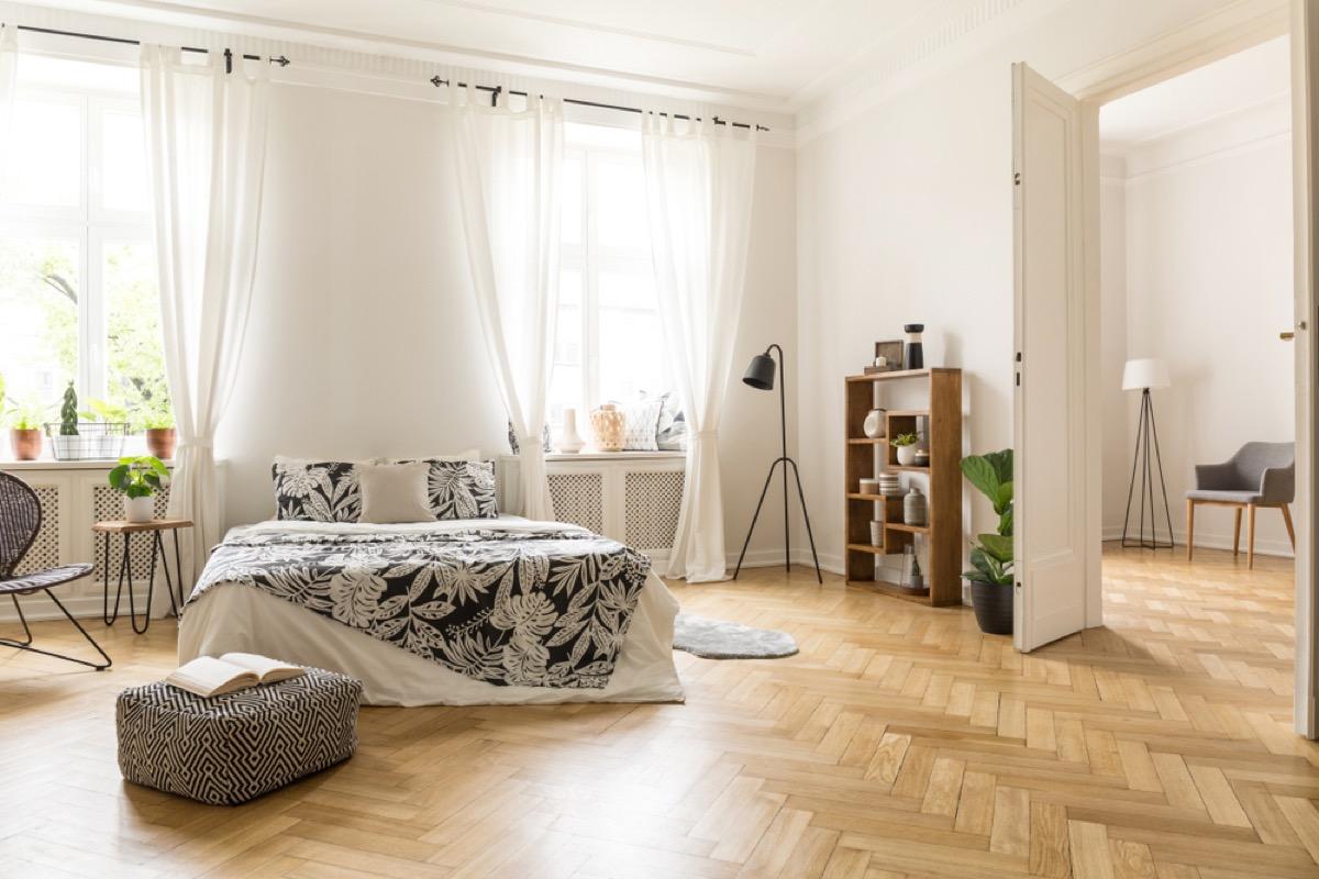 inlaid hardwood floor, vintage home upgrades