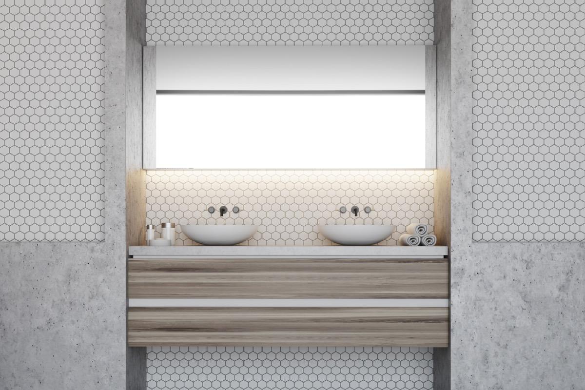 hexagonal tile bathroom wall, vintage home upgrades