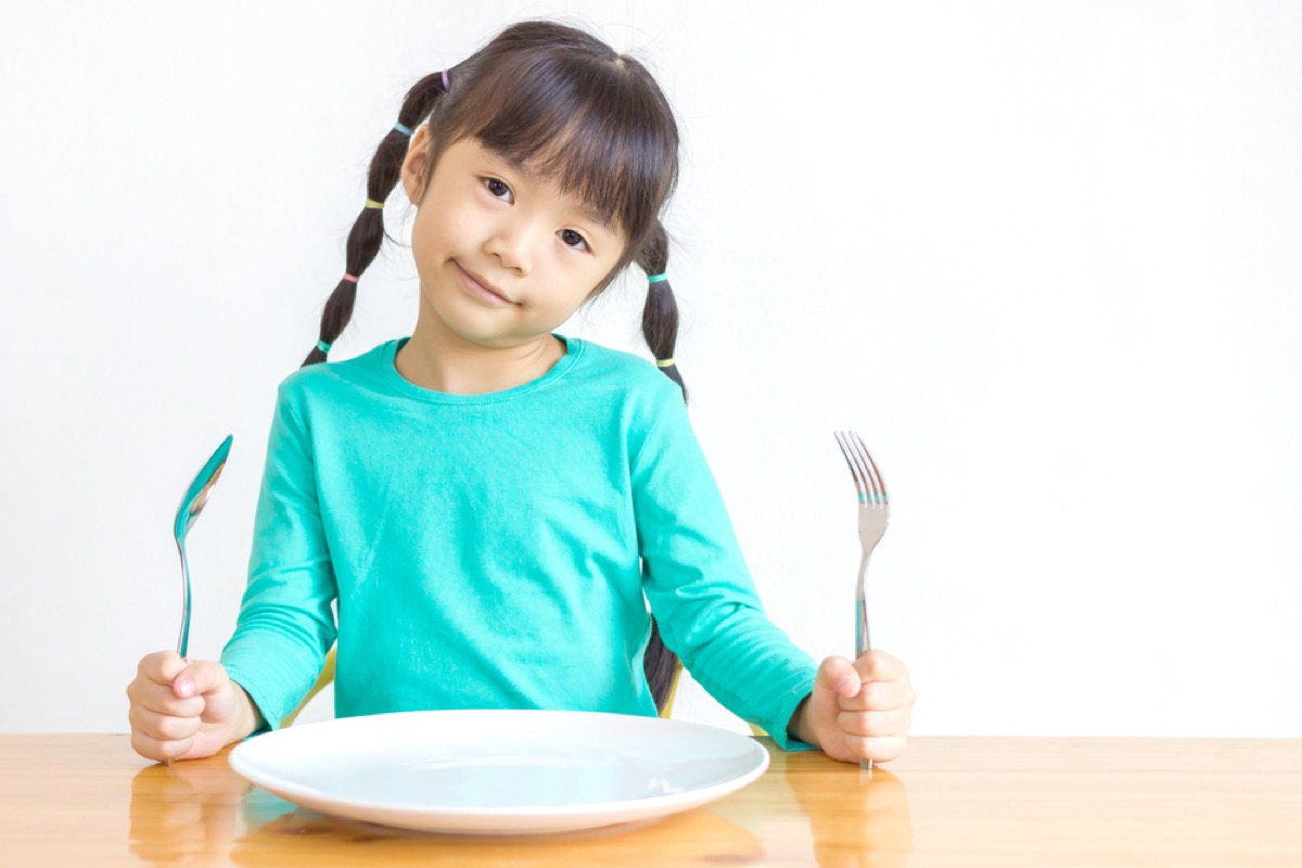 girl holding knife and fork at dinner table, bad parenting advice