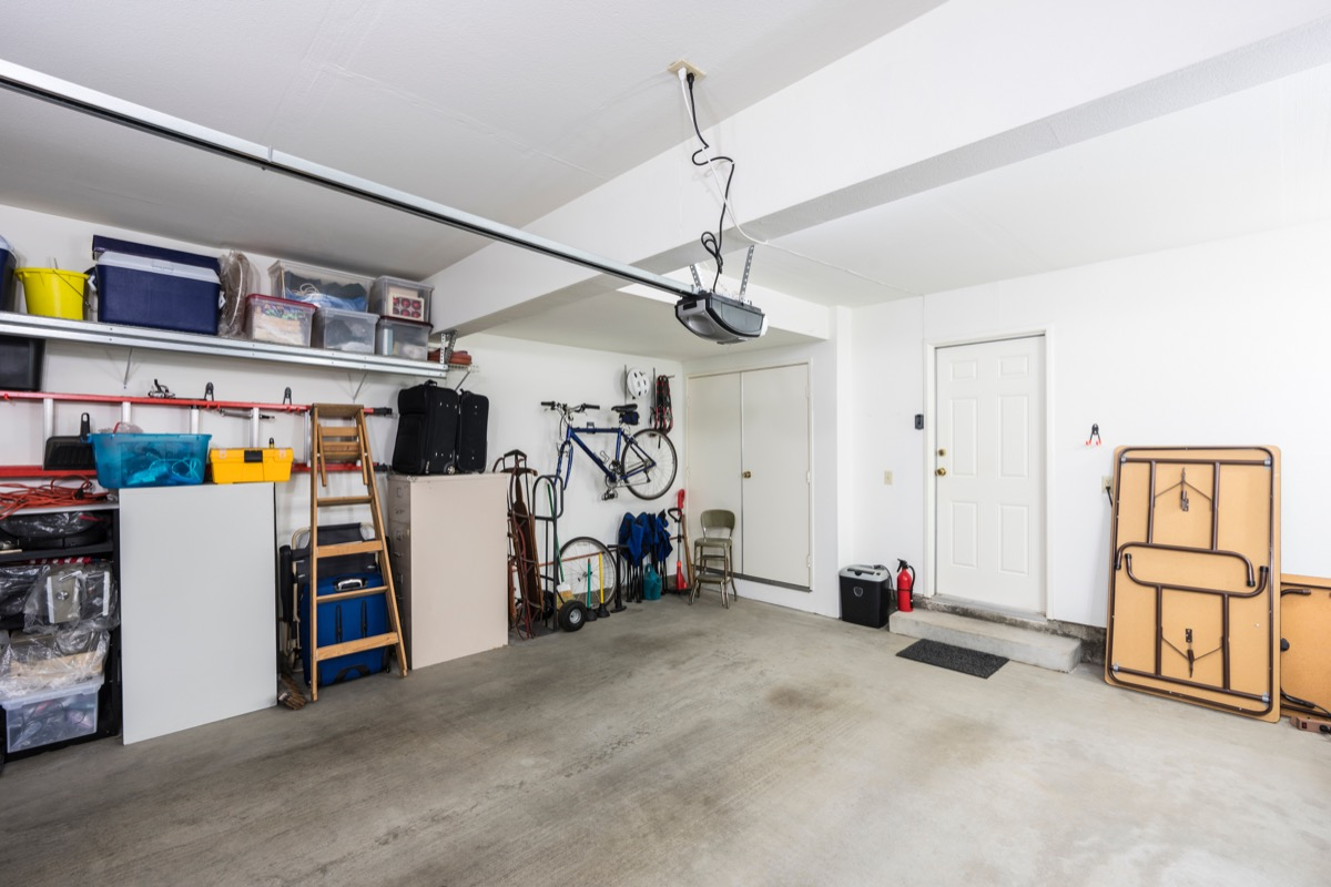 inside a home garage with door, safety tips
