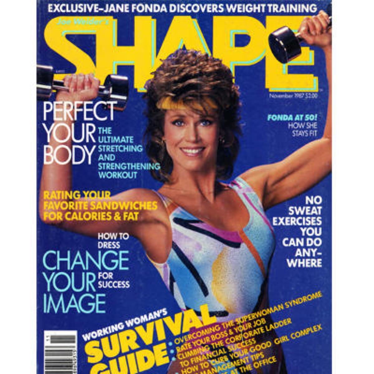 jane fona workout magazine cover for shape, 1980s nostalgia