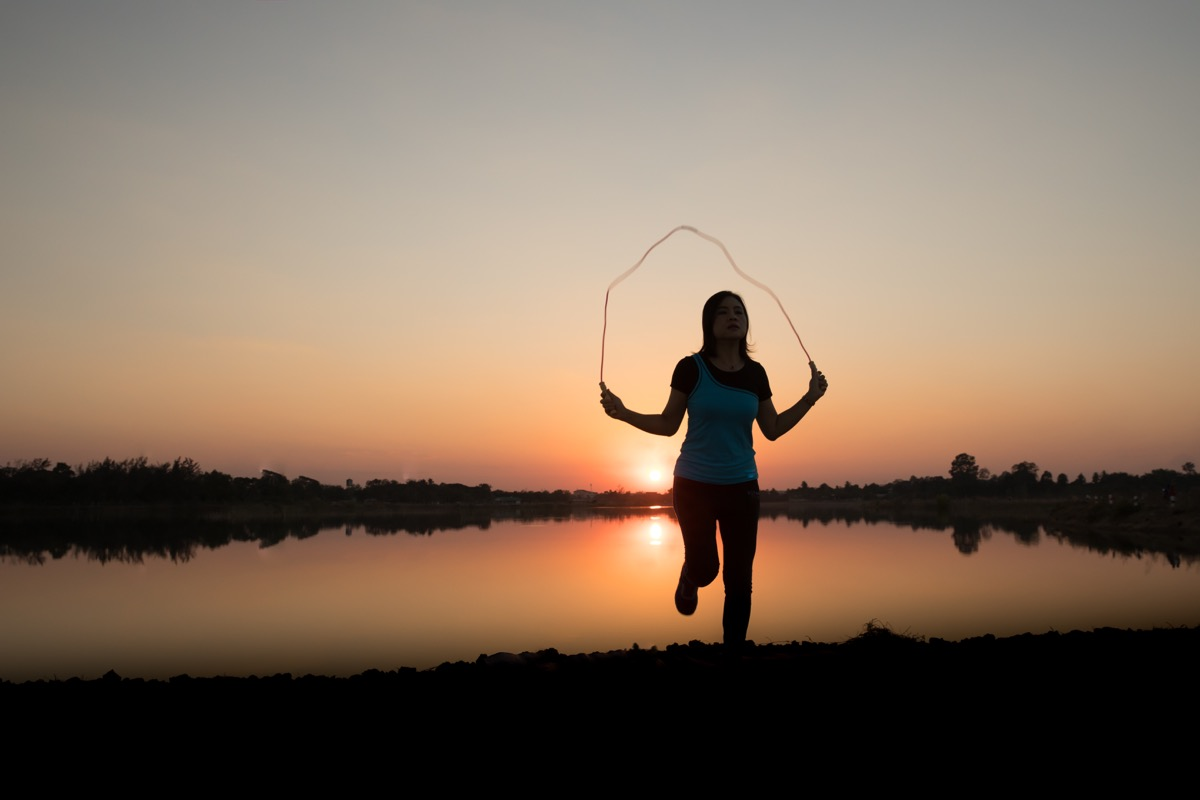 woman jumping rope, over 40 fitness