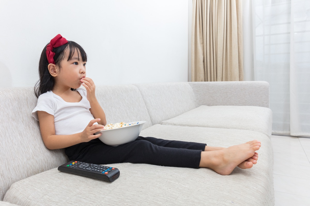 Little Girl Watching Television, bad parenting