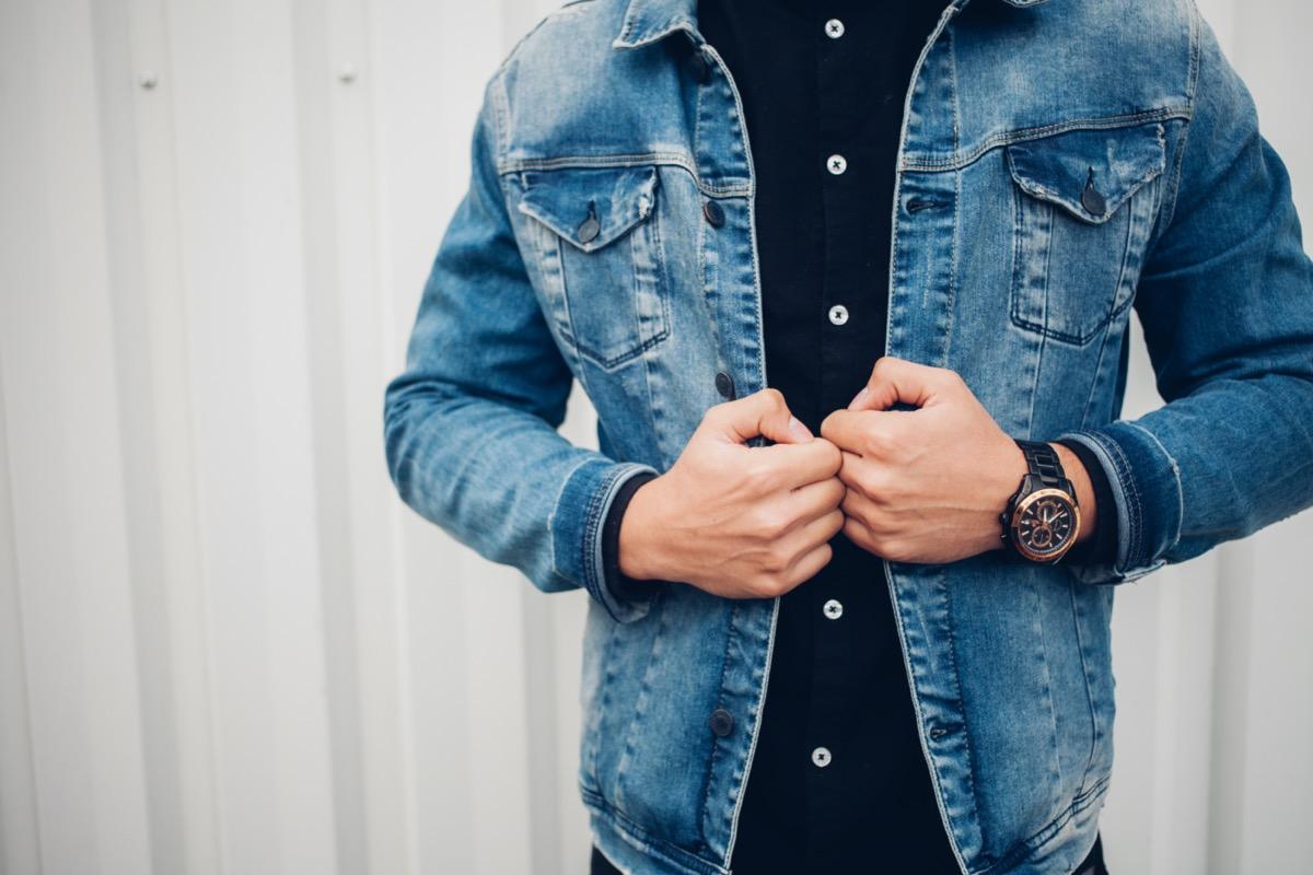 man wearing a denim jacket