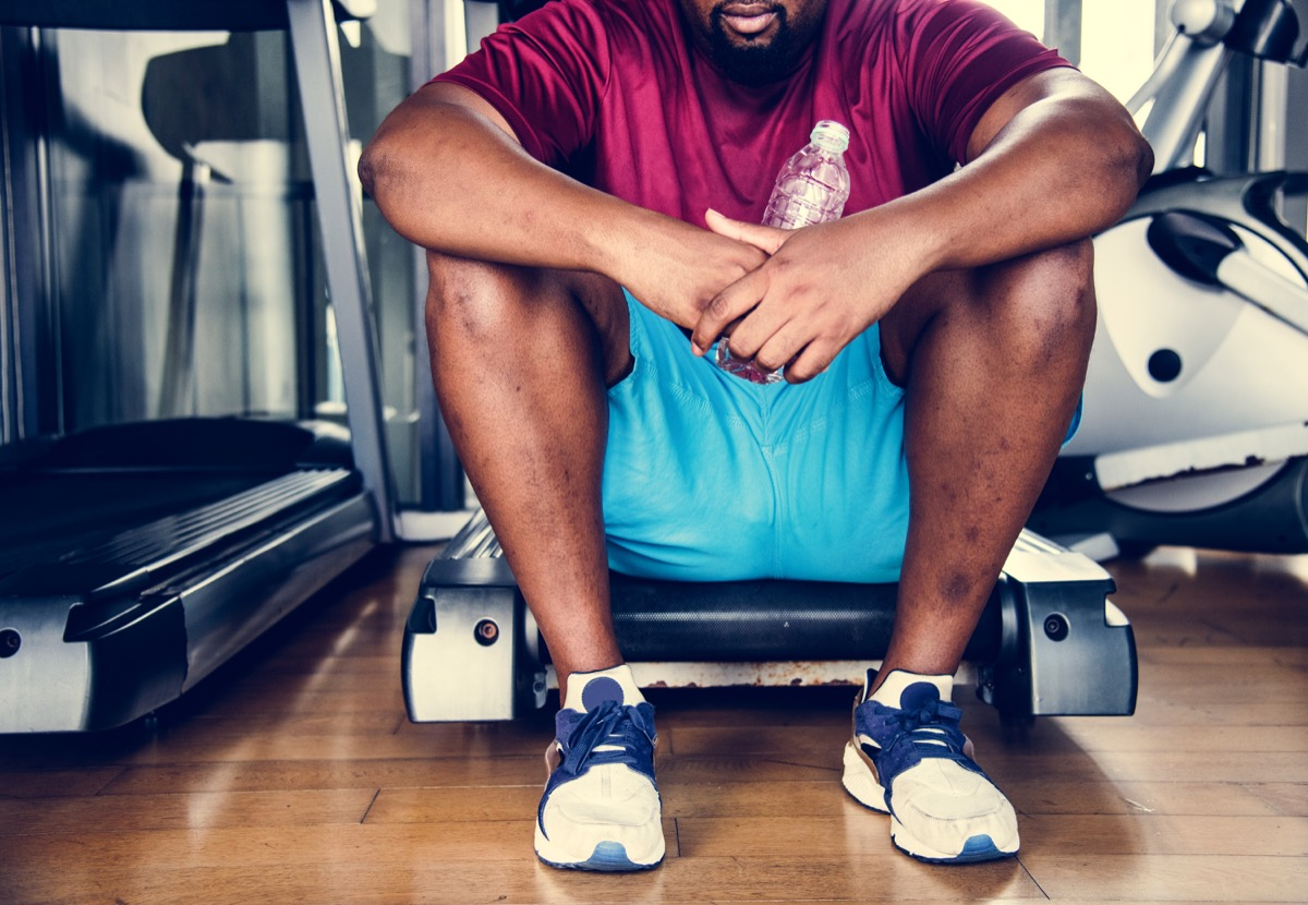 man discouraged with working out and exercising, over 40 fitness