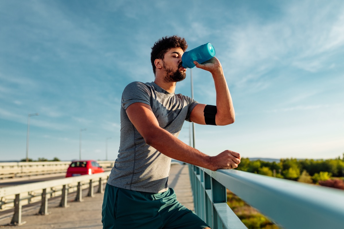 Man Taking a Break From His Run to Drink Some Water Dirtiest Things in Your Home