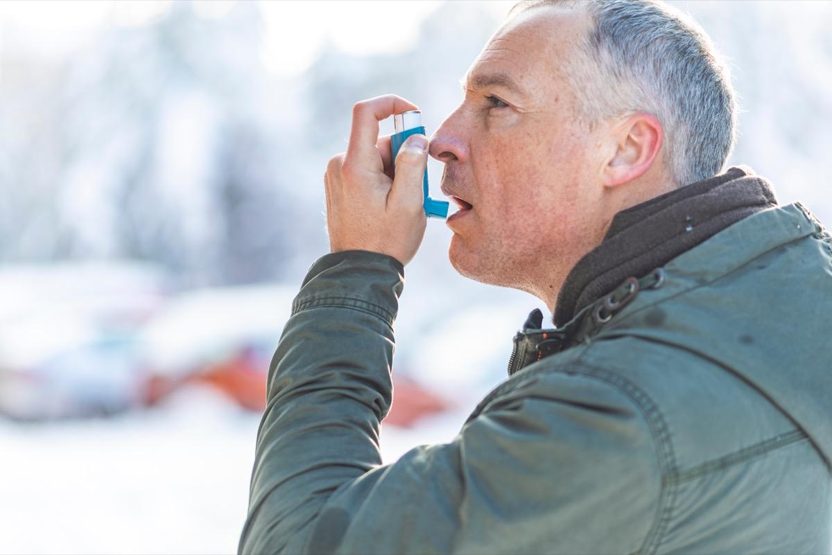 Man Using an Inhaler for his Asthma Heart Risk Factors