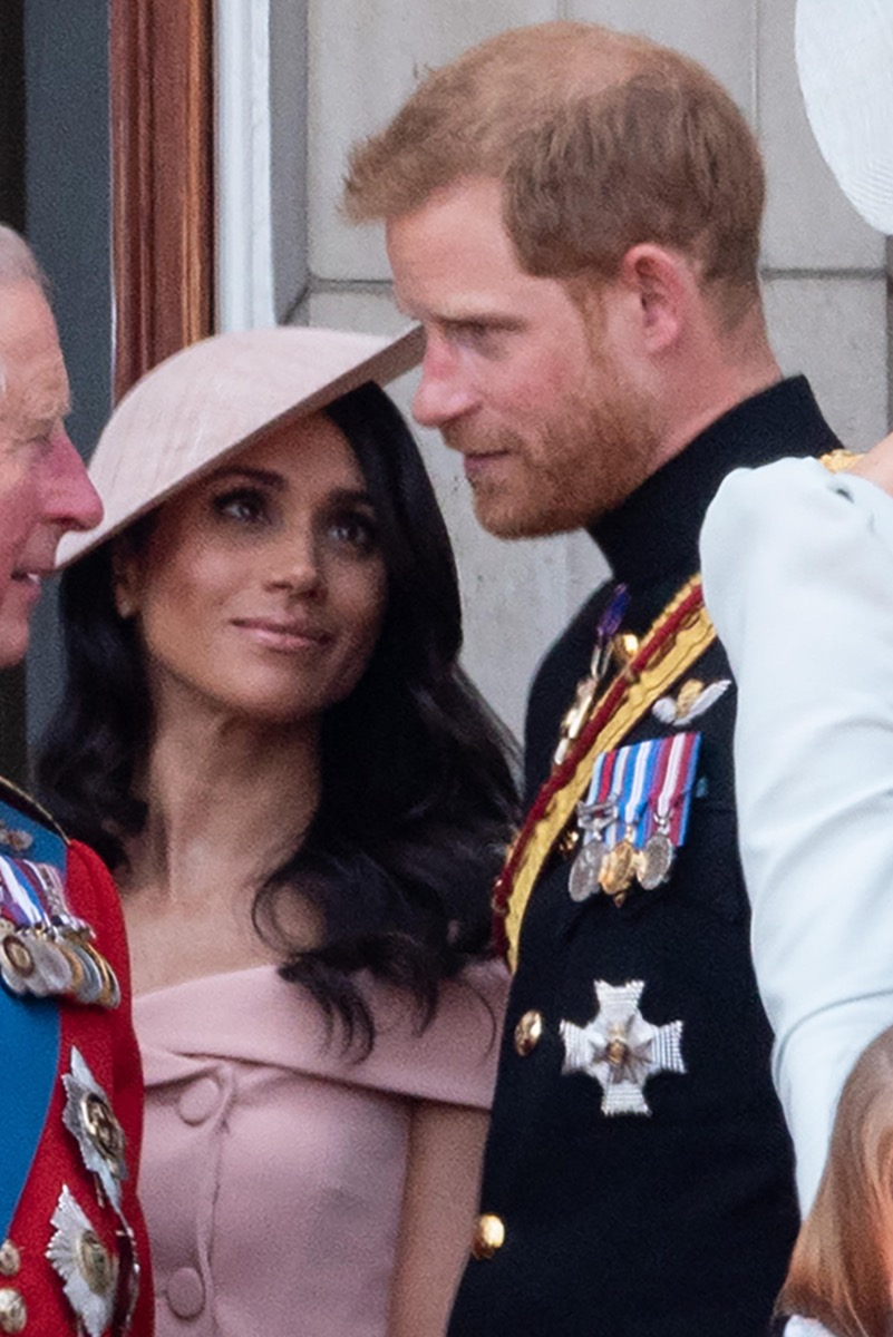 London, UK. 9th June 2018. Trooping The Colour. Meghan Duchess of Sussex, Prince Harry on the balcony at Buckingham Palace Credit: Raymond Tang/Alamy Live News