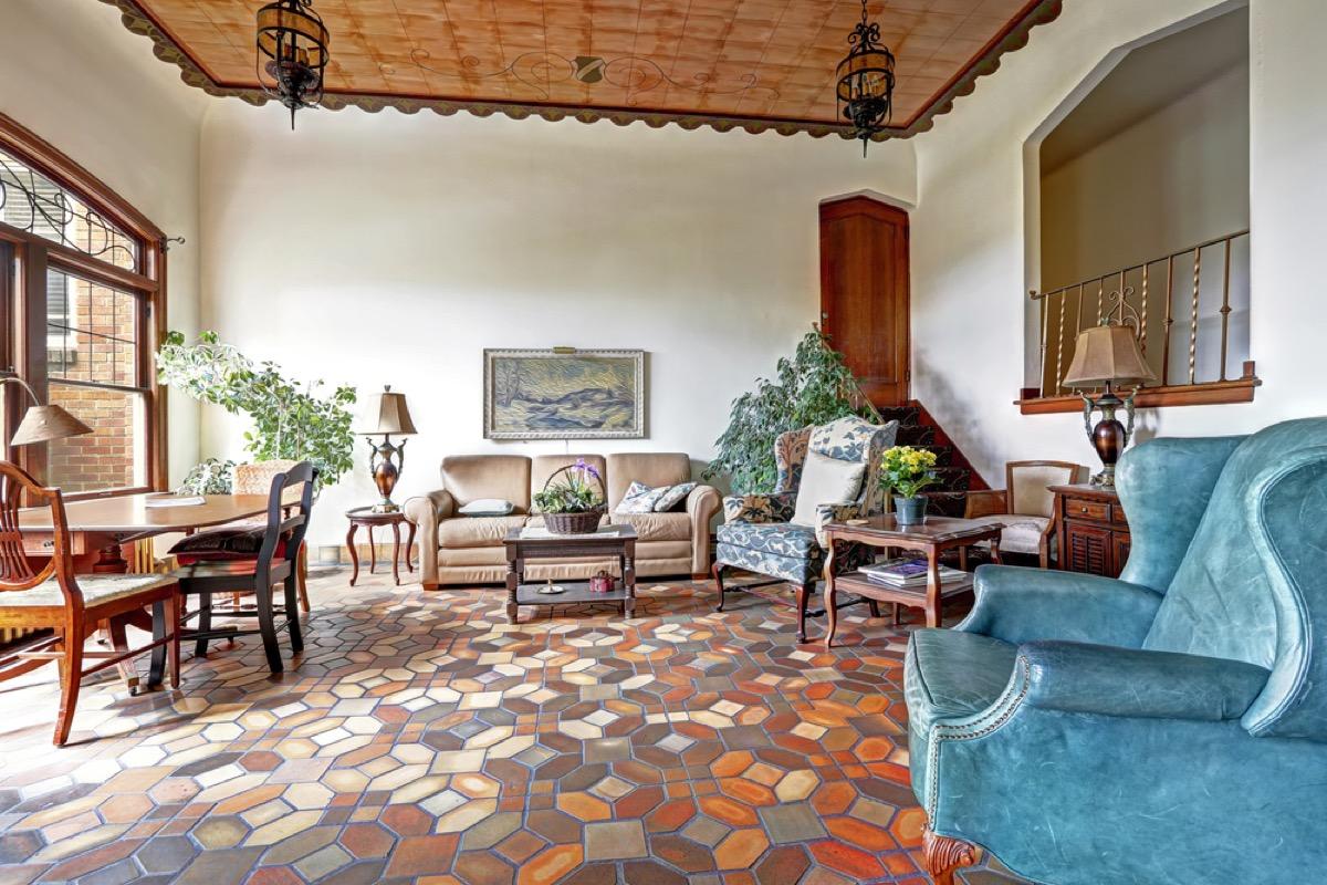 patterned tile home foyer, vintage home upgrades