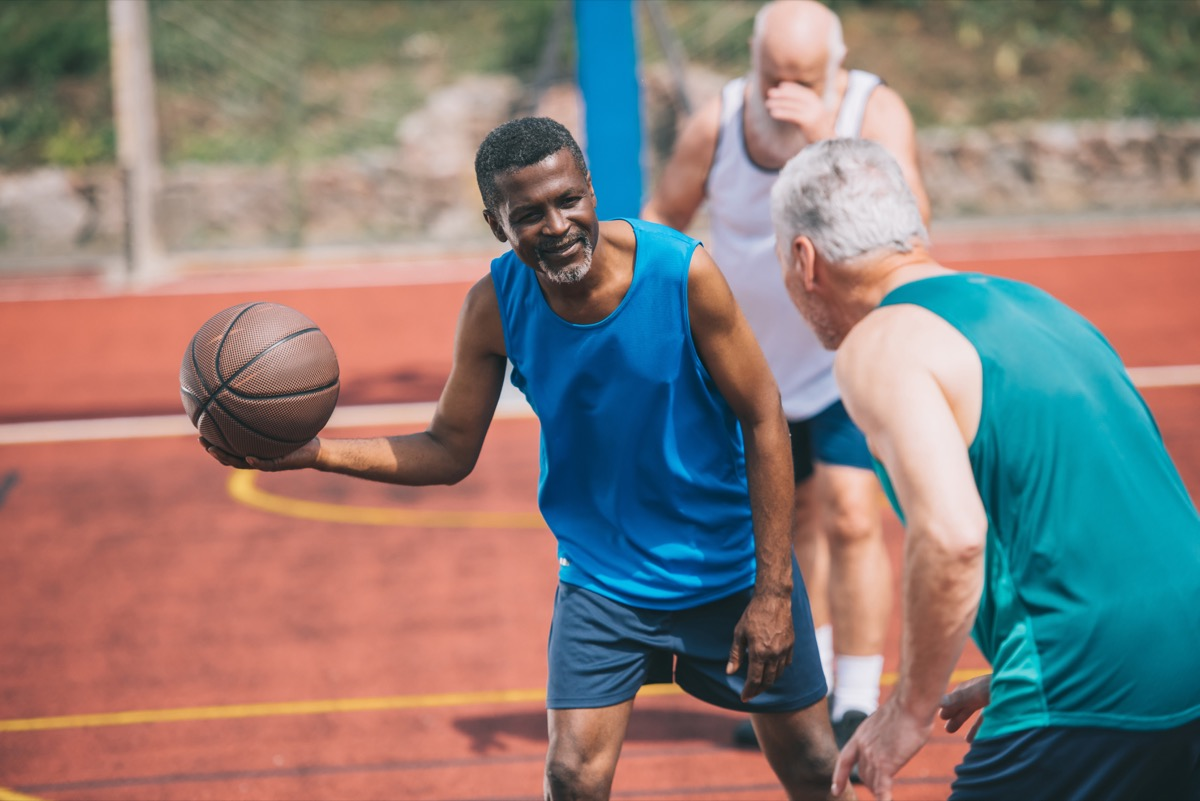 old men playing basketball, over 40 fitness