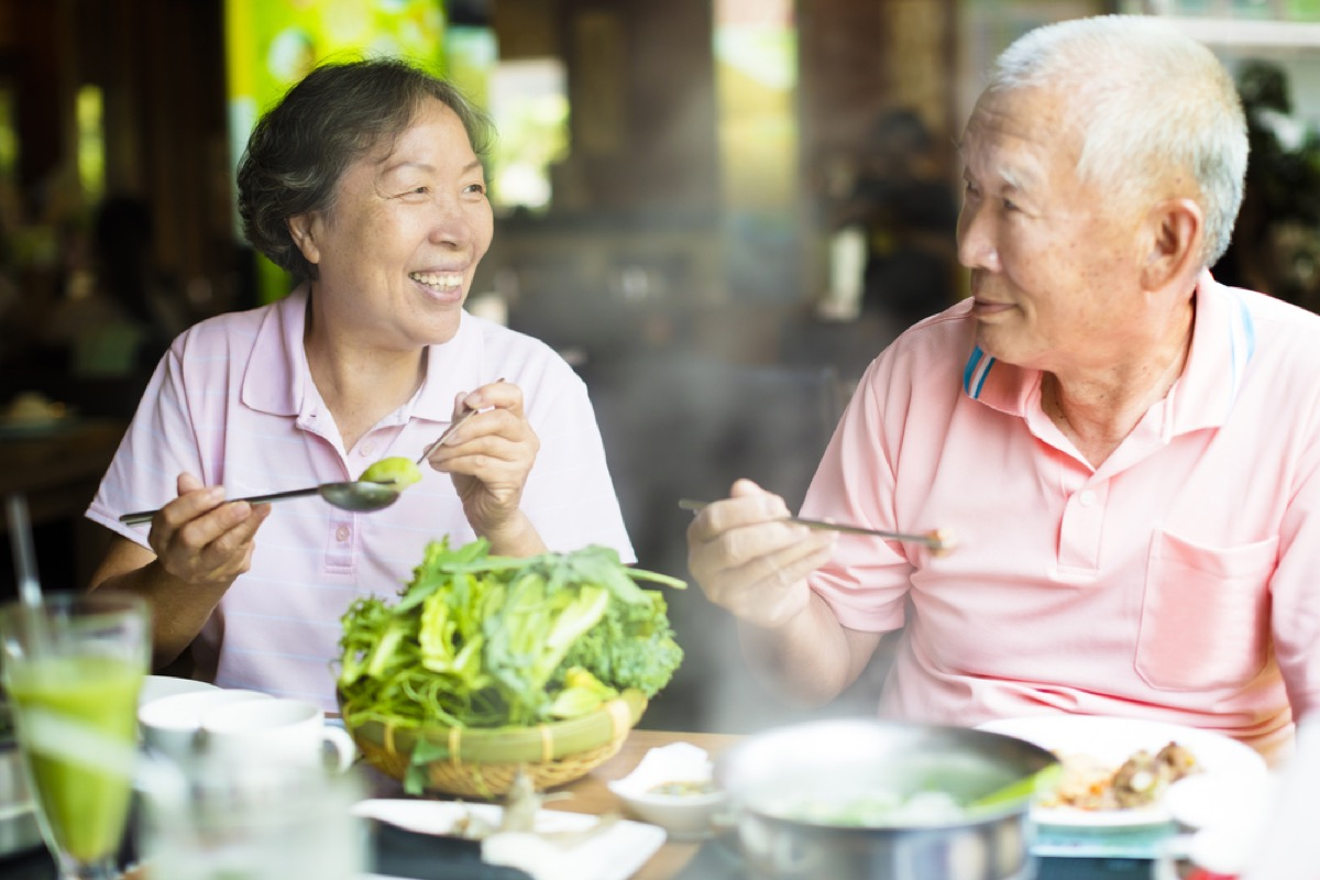 older man and woman eating, long marriage tips