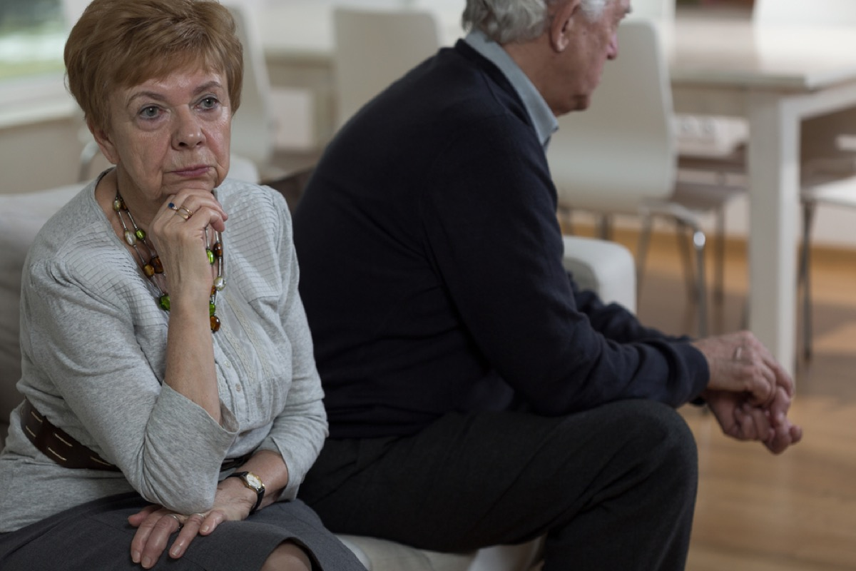 older couple fighting on couch, better wife after 40
