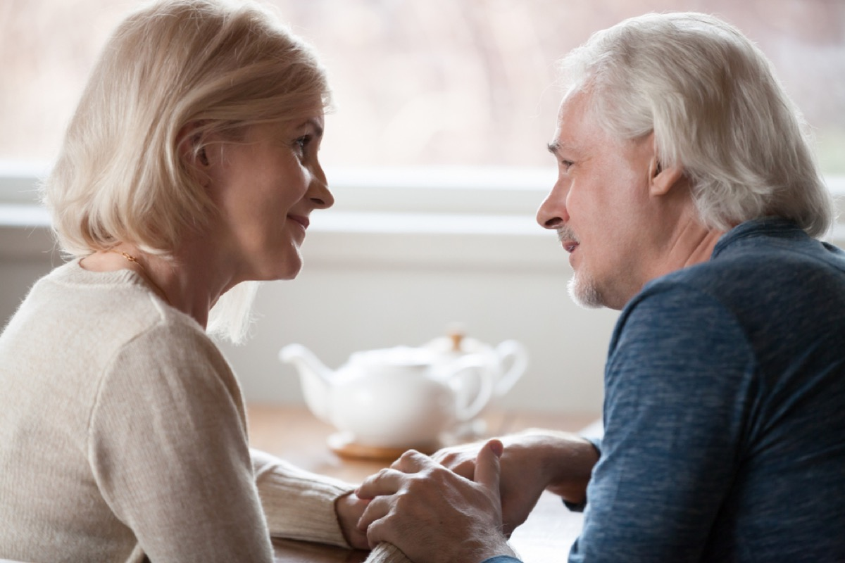 older couple talking over tea, better wife after 40
