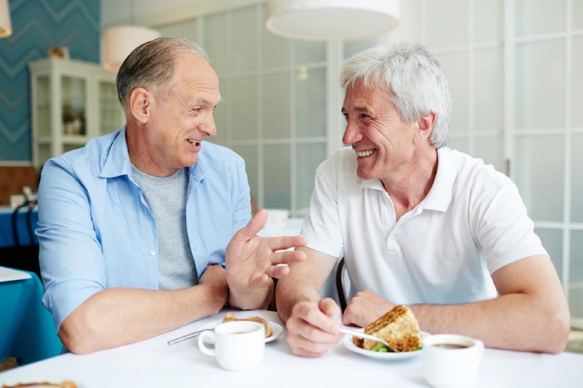 older men talking at breakfast, long marriage tips