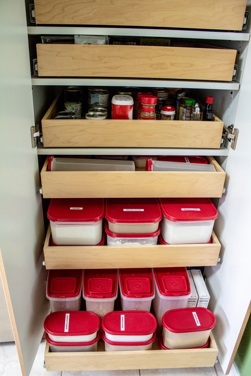 An Organized Pantry with Pull-Out Shelves Transform Small Kitchen