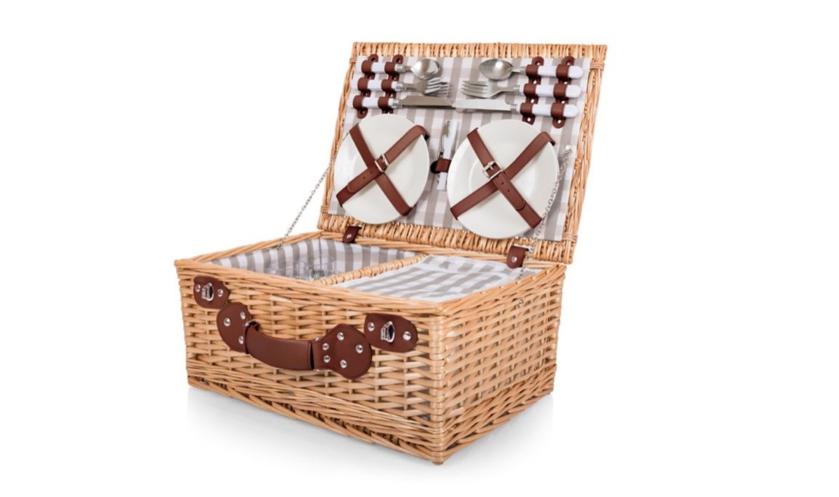 gray and white gingham picnic basket, summer buys under $100