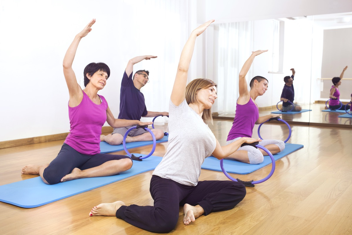 Group exercise pilates class
