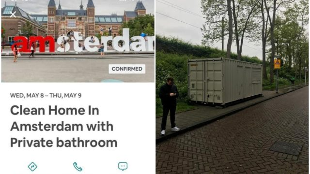 man books airbnb room in amsterdam that turns out to be shipping unit