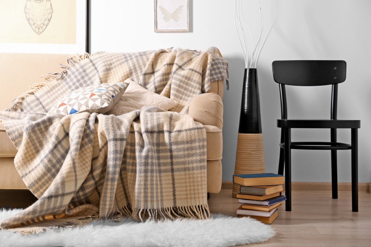 plaid blanket on couch, vintage home upgrades