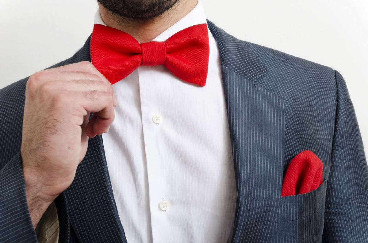 man with red bowtie and pocket square, make yourself more attractive