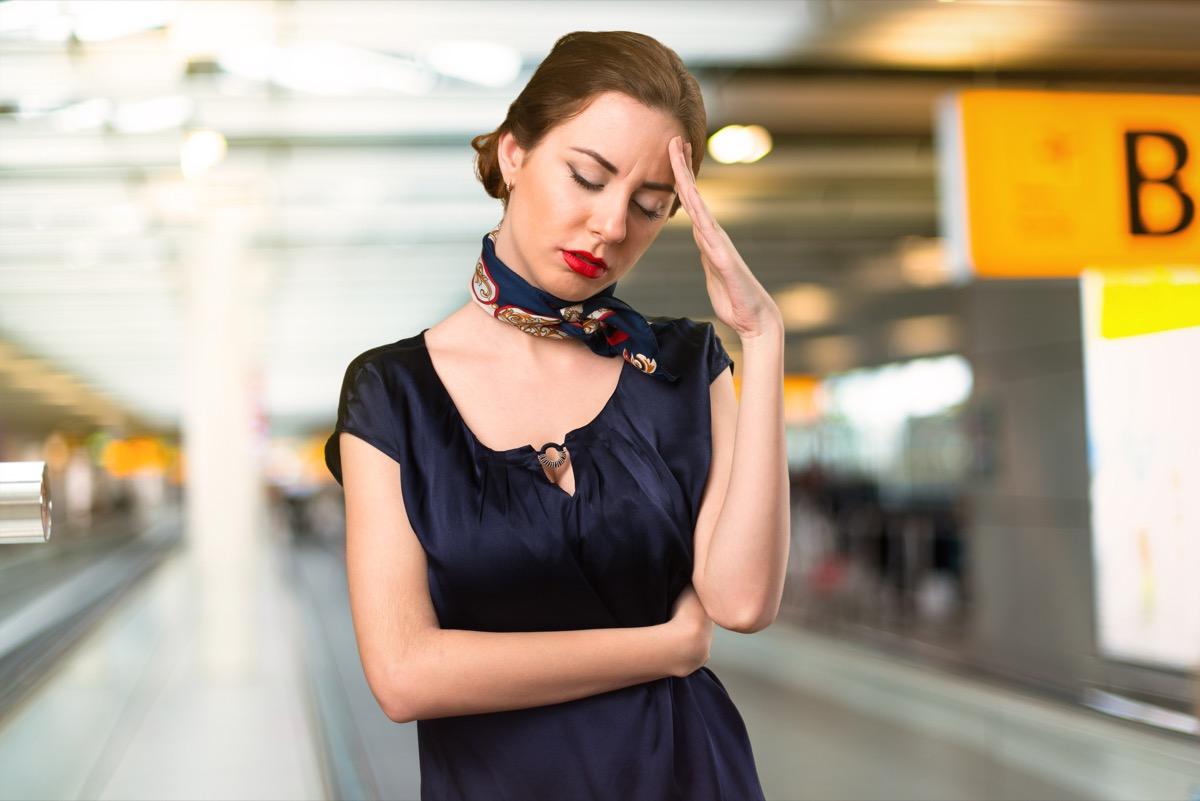 sad flight attendant signs of burnout