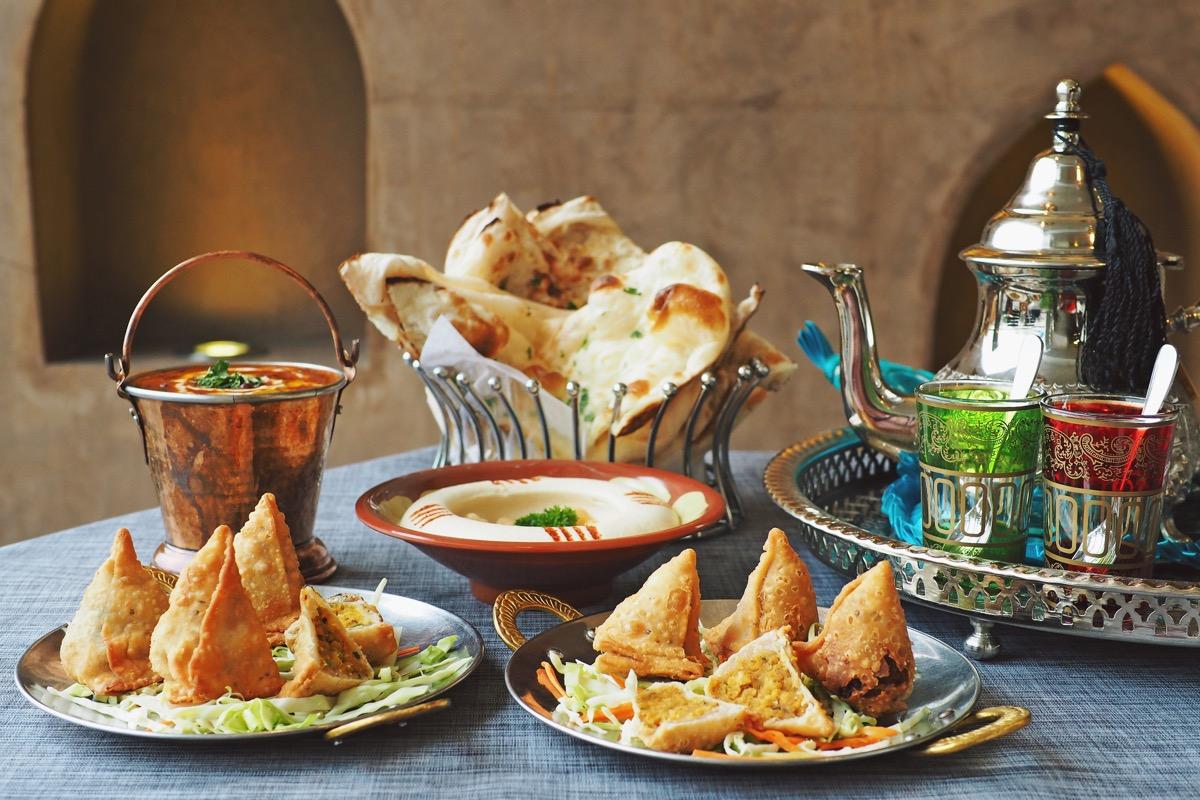 A Dinner Spread With Samosas Ramadan