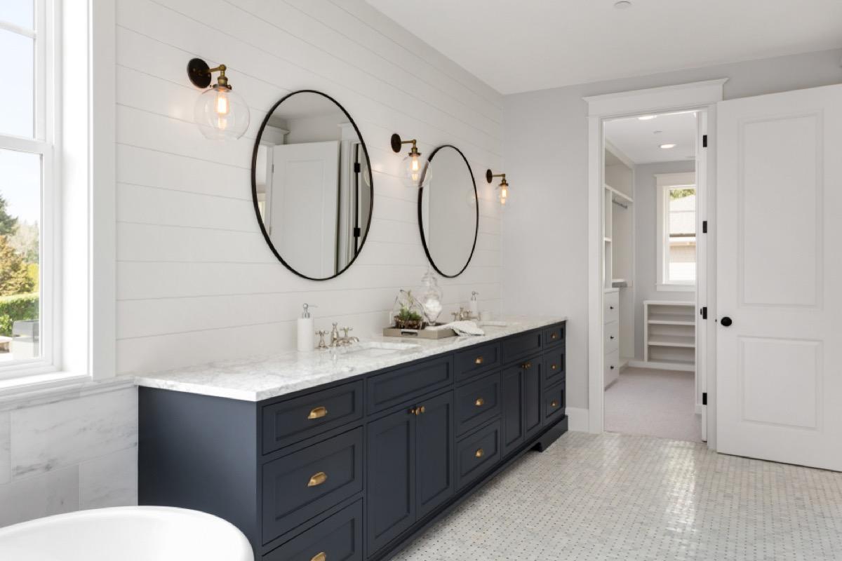 white bathroom, vintage home upgrades